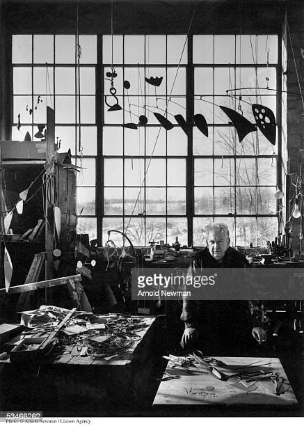 Portrait of sculptor Alexander Calder January 3 1957 in his studio in Woodbury Connecticut