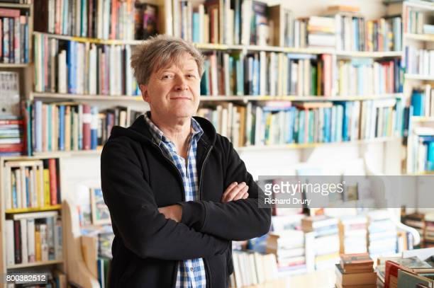 Portrait of secondhand bookshop owner