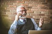 Portrait of senior businessman talking phone.