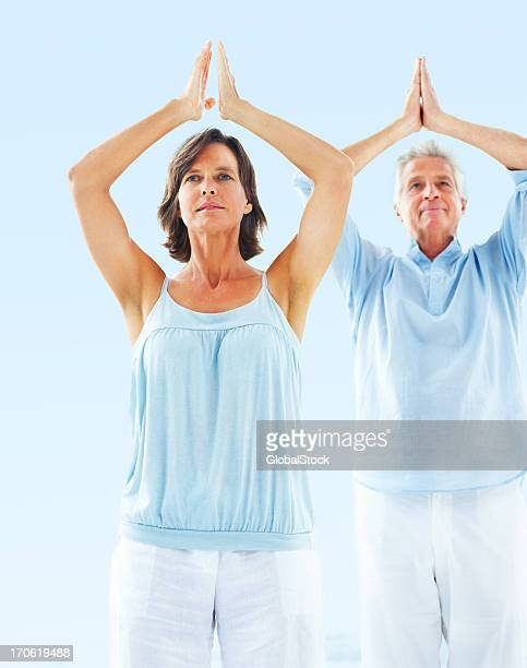 Portrait of senior couple in yoga position