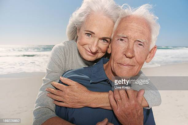 Portrait of senior couple on beach