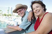 Portrait of senior couple on holidays, smiling