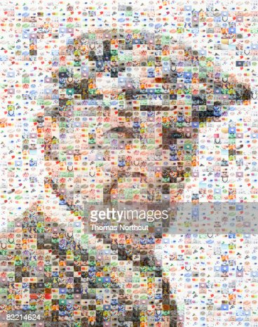 Portrait of senior made out of pill imagery : Stock Photo