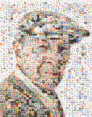 Portrait of senior made out of pill imagery
