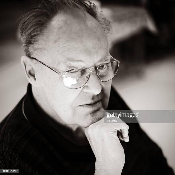 Portrait of Senior Man, black and white