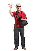 Portrait of senior man holding a camera