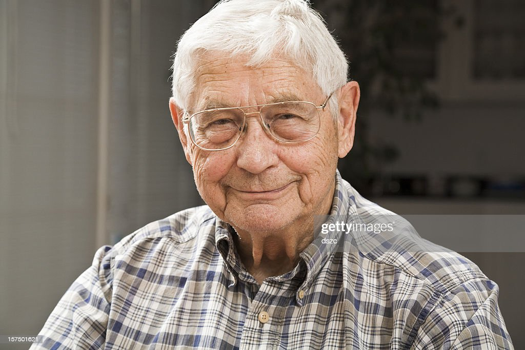portrait of senior man in candid setting : Stock Photo
