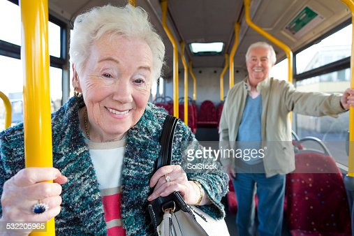 Portrait of Senior Woman on Bus