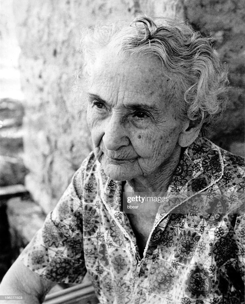 Portrait of Senior Woman Sitting Down, Black and White