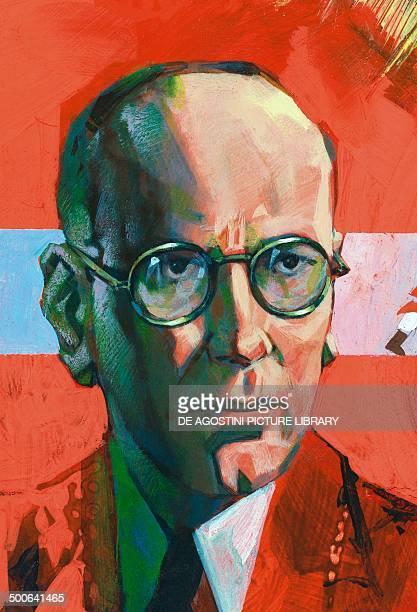 Portrait of Sergei Sergeyevich Prokofiev Russian composer illustration