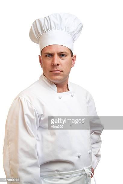 Porträt von Ernst cook in weißen Köchen Hut und uniform