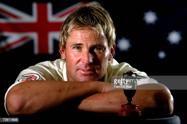 A portrait of Shane Warne of Australia taken during the Australian cricket team portrait session on August 29 2006 at the Hyatt Regency at Coolum...