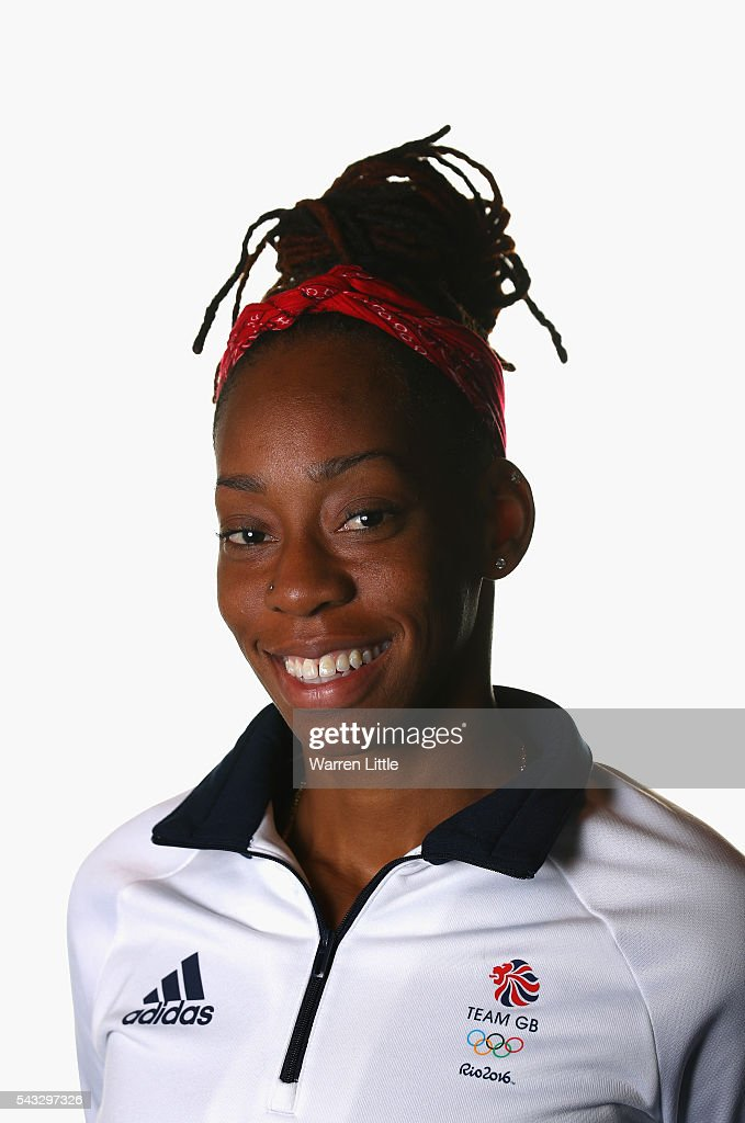 A portrait of <a gi-track='captionPersonalityLinkClicked' href=/galleries/search?phrase=Shara+Proctor&family=editorial&specificpeople=795829 ng-click='$event.stopPropagation()'>Shara Proctor</a> a member of the Great Britain Olympic team during the Team GB Kitting Out ahead of Rio 2016 Olympic Games on June 27, 2016 in Birmingham, England.
