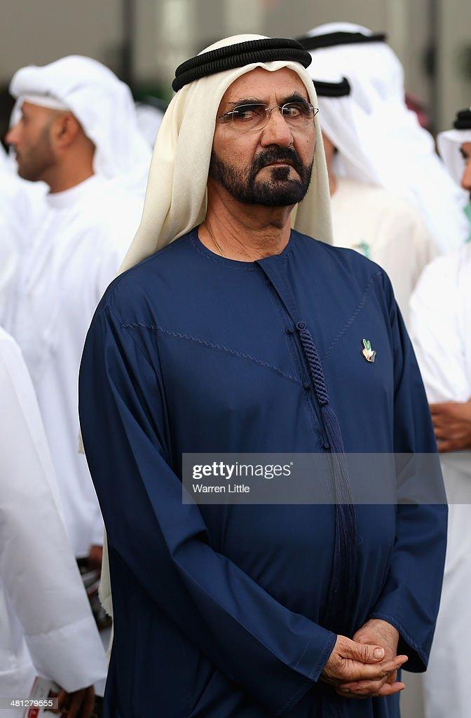 A portrait of Sheikh Mohammed bin Rashid Al Maktoum ruler of Dubai looks on during the Dubai World Cup at the Meydan Racecourse on March 29, 2014 in Dubai, United Arab Emirates.