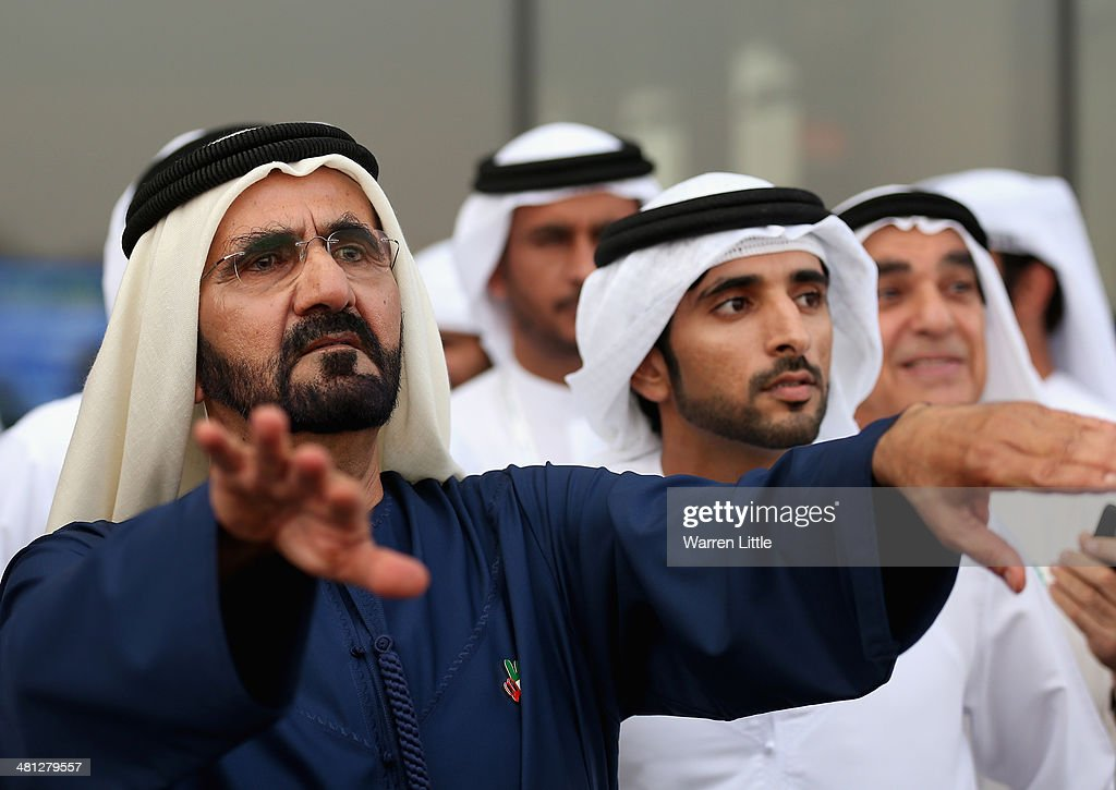 A portrait of Sheikh Mohammed bin Rashid Al Maktoum ruler of Dubai looks on during the Dubai World Cup at the Meydan Racecourse on March 29, 2014 in Dubai, United Arab Emirates.