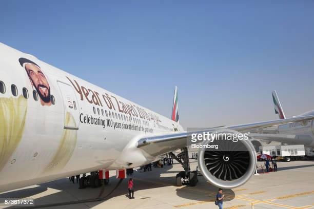 A portrait of Sheikh Zayed bin Sultan Al Nahyan adorns an Airbus SE A380 aircraft operated by Emirates Airlines during the 15th Dubai Air Show at...