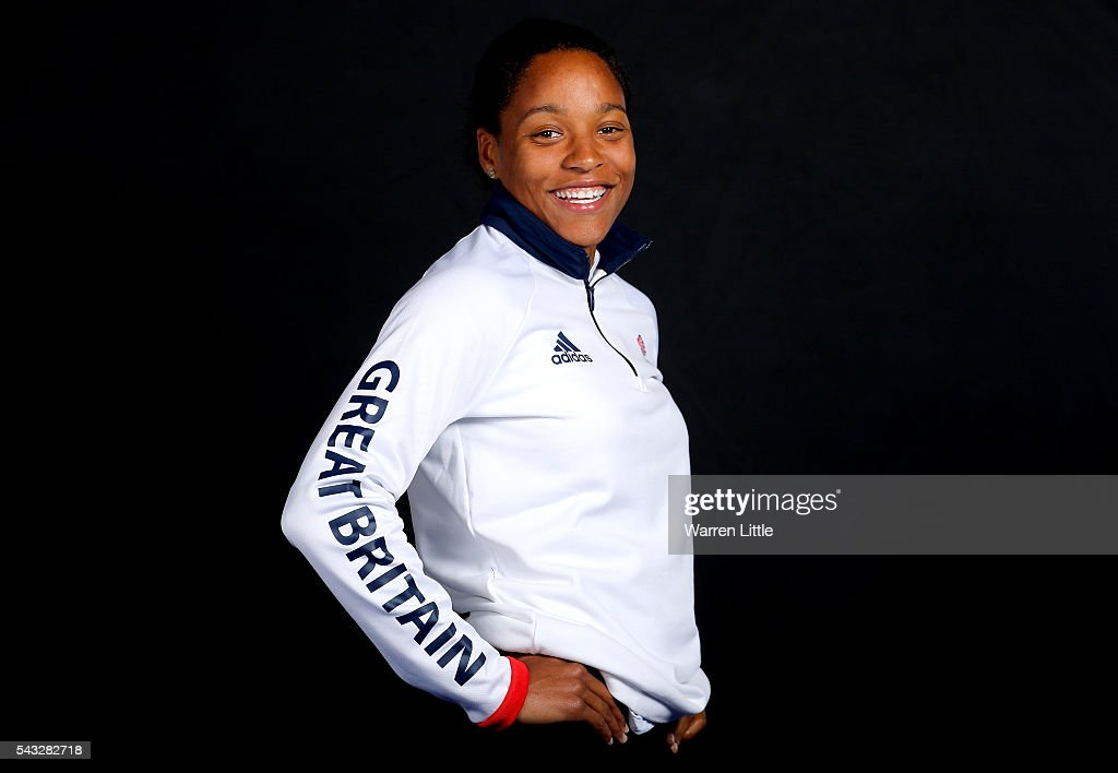 A portrait of Shelanya Oskan Clarke a member of the Great Britain Olympic team during the Team GB Kitting Out ahead of Rio 2016 Olympic Games on June 27, 2016 in Birmingham, England.