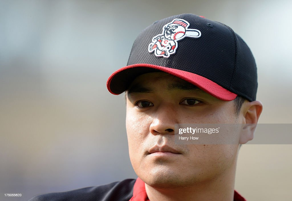 Portrait of <a gi-track='captionPersonalityLinkClicked' href=/galleries/search?phrase=Shin-Soo+Choo&family=editorial&specificpeople=196543 ng-click='$event.stopPropagation()'>Shin-Soo Choo</a> #17 of the Cincinnati Reds before the game against the Los Angeles Dodgers at Dodger Stadium on July 26, 2013 in Los Angeles, California.