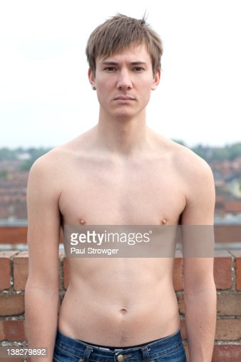 Portrait of shirtless man : Stock Photo