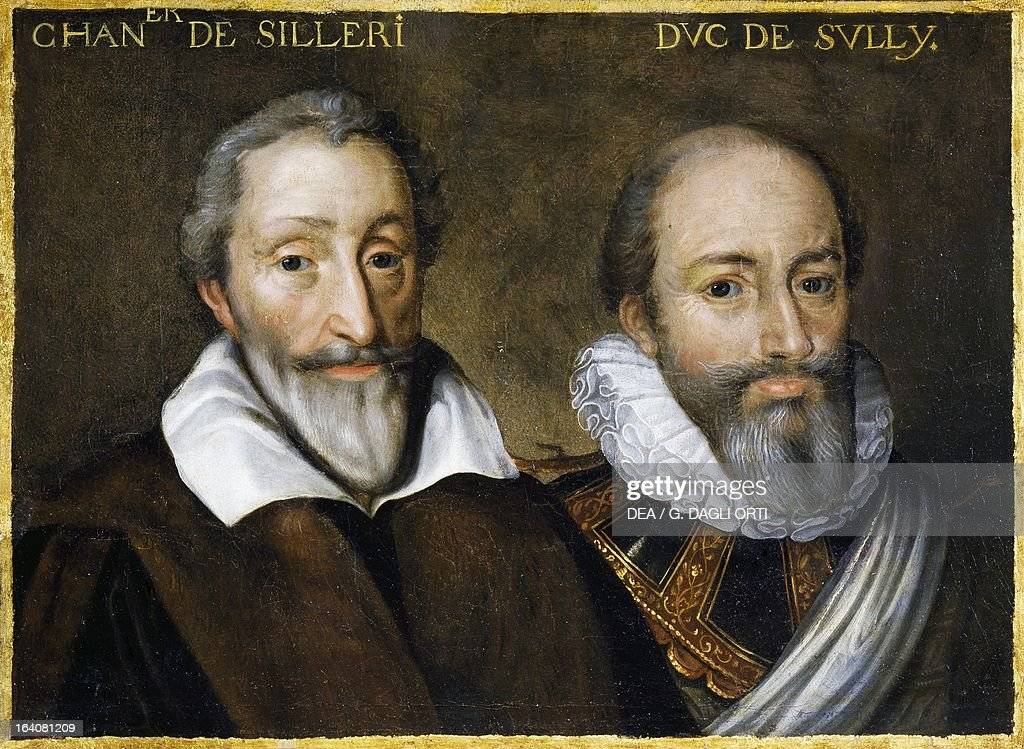 Portrait of Silleri chancellor of France and Maximilien de Bethune Duke of Sully French soldier and minister Painting 17th century