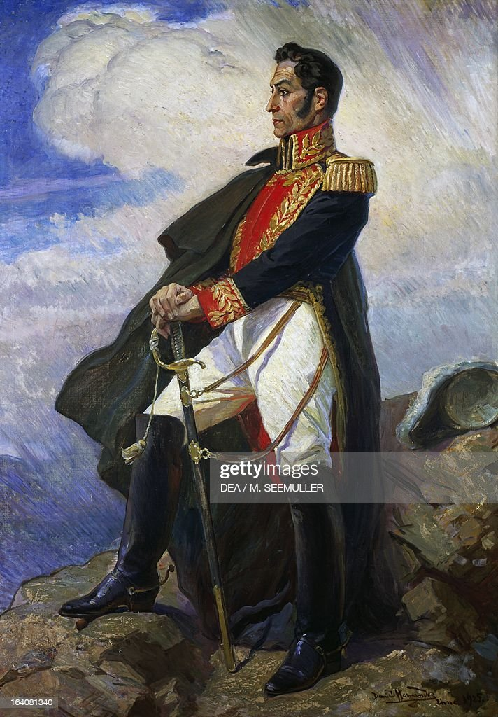 Portrait of <a gi-track='captionPersonalityLinkClicked' href=/galleries/search?phrase=Simon+Bolivar&family=editorial&specificpeople=151017 ng-click='$event.stopPropagation()'>Simon Bolivar</a> (Caracas,1783-Santa Marta, 1830), Venezuelan general, patriot and revolutionary. Painting by Daniel Hernandez. Lima, Museo De Arte