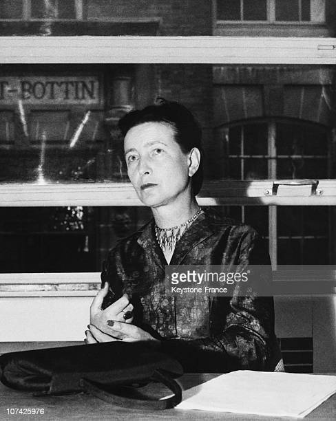 Portrait Of Simone De Beauvoir At Her Editor In France On June 14Th 1960
