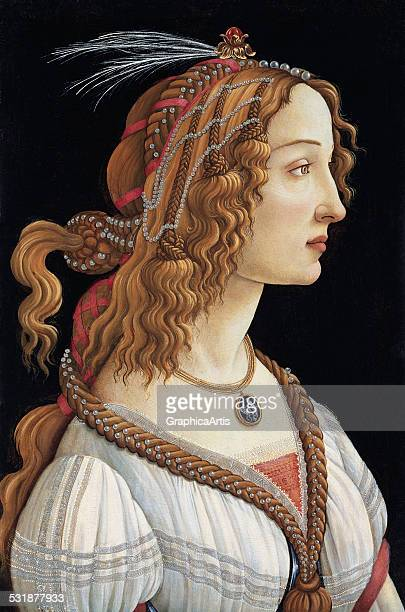 Portrait of Simonetta Vespucci as a Nymph by Sandro Botticelli tempera on wood c 1475 from the Stadel Museum Frankfurt Germany Vespucci is thought to...