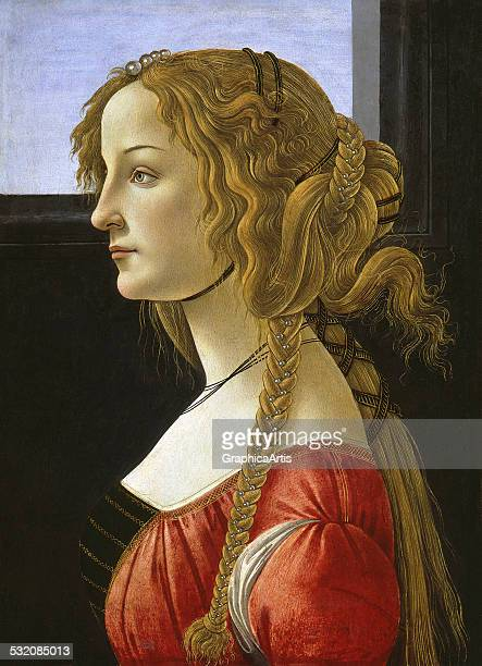 Portrait of Simonetta Vespucci by Sandro Botticelli tempera on wood c 1476 from the Staatliche Museen Gemaldegalerie Berlin Germany Vespucci is...