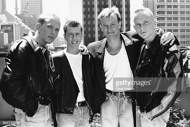 Portrait of singer Jason Donovan with British boy band 'Bros' Luke Goss Craig Logan and Matt Goss in Australia November 1st 1988