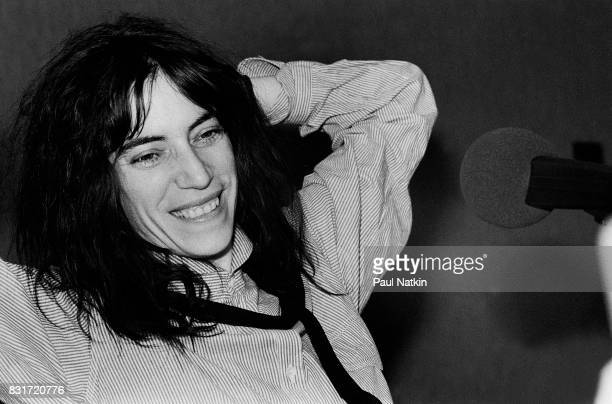 Portrait of singer Patti Smith at radio station WMET in Chicago Illinois April 28 1979