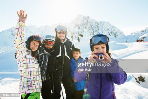 Portrait of skiing family, Les Arcs, Haute-Savoie, France
