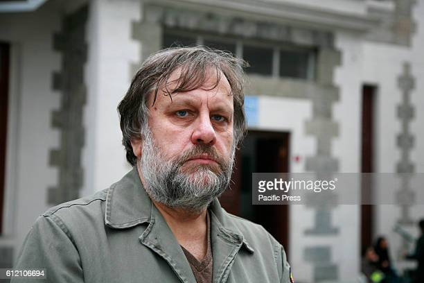 Portrait of Slavoj Zizek who is a Slovenian psychoanalytic philosopher cultural critic and Hegelian Marxist His books include Living in the End Times...