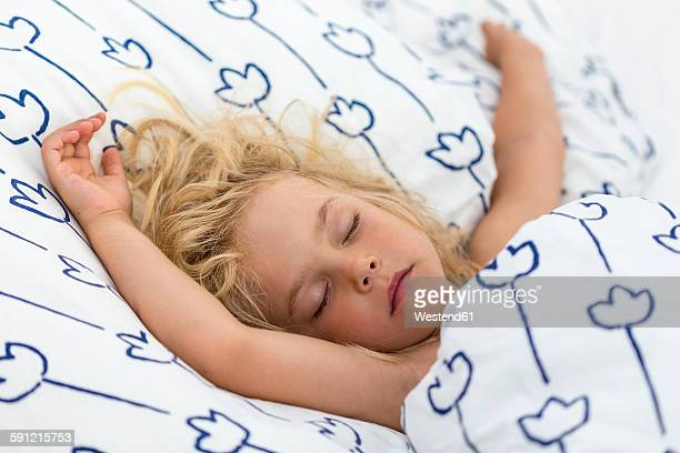 Portrait of sleeping blond girl