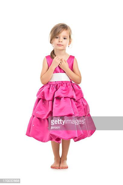 portrait of small girl in pink dress