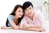 Portrait of  smiling asian young couple
