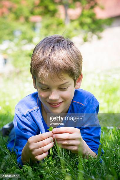 Portrait of smiling boy lying on meadow