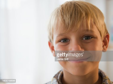 Portrait of smiling boy (8-9) : Stock Photo