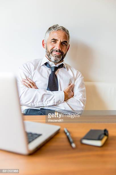 Portrait of smiling businessman at his home office