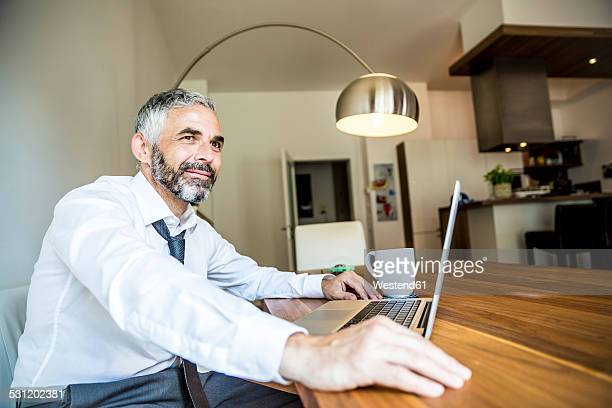 Portrait of smiling businessman working at his home office