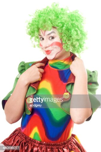 Portrait of smiling female clown : Stock Photo