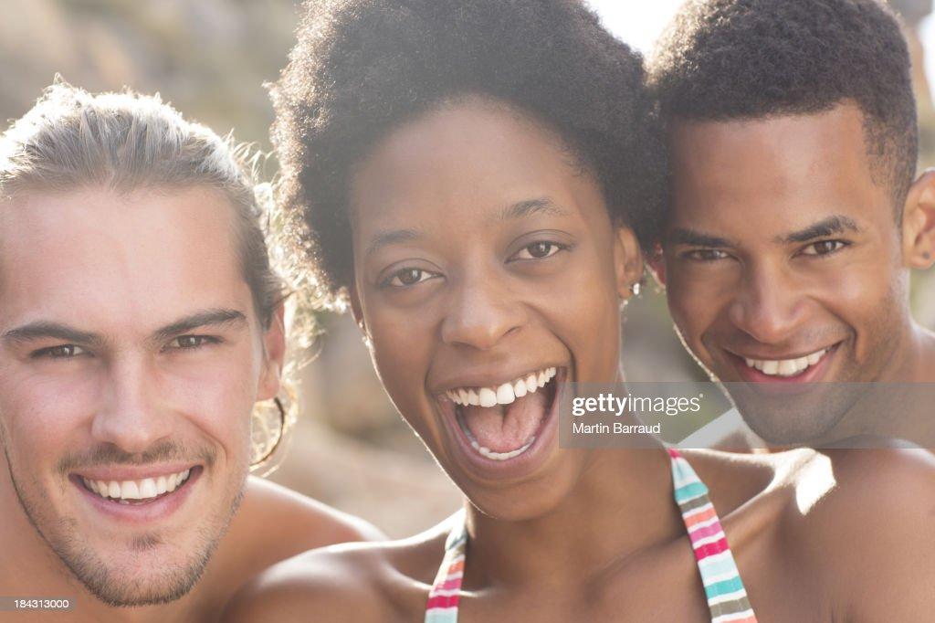 Portrait of smiling friends : Stock Photo