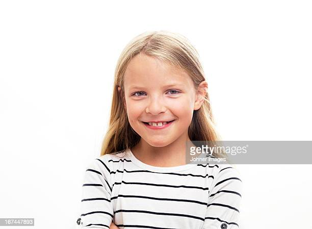 Portrait of smiling girl, studio shot