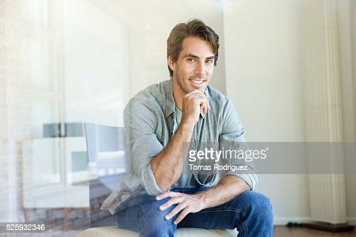 Portrait of smiling handsome man : Foto de stock
