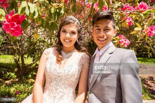 Portrait of smiling Hispanic boy and girl