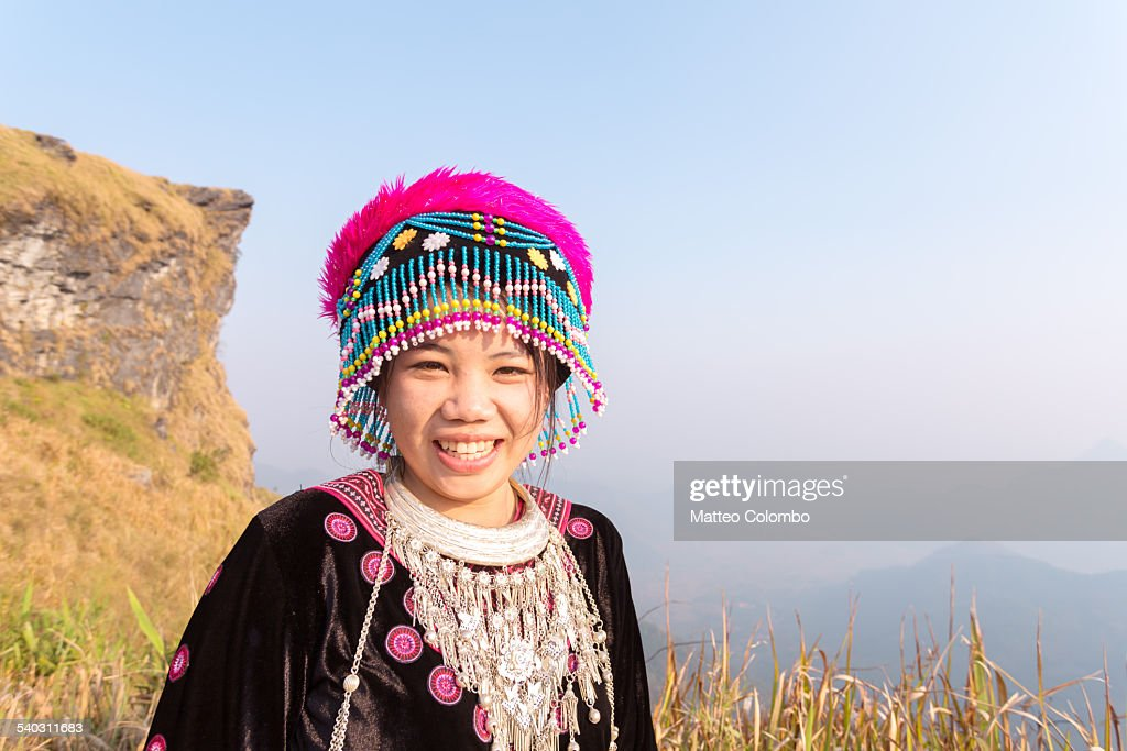 Portrait of smiling Hmong minority tribe girl