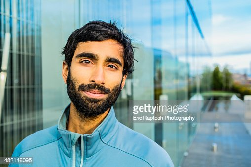 Portrait of smiling Indian man with beard