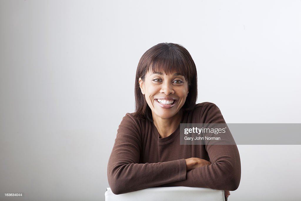 portrait of smiling middle aged woman : Stock Photo
