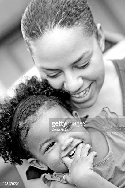 Portrait of Smiling Mother with Daughter, Black and White