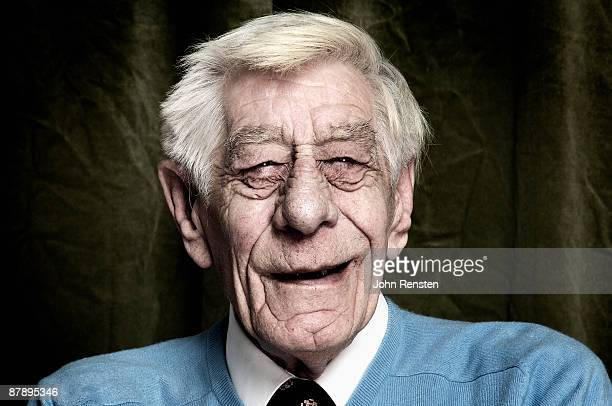portrait of smiling old man with wrinkled face