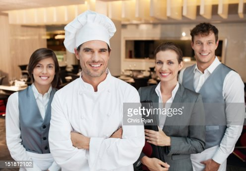 Portrait of smiling restaurant employees